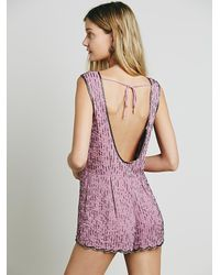 Free People - Purple Beaded Beauty Romper - Lyst