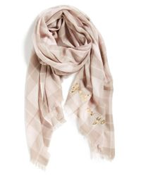 kate spade new york | Natural 'woodland Plaid' Wool Scarf - Purple | Lyst