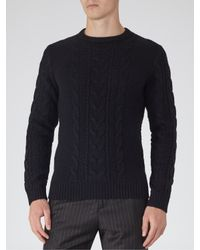 Reiss Blue Tale Chunky Cable Knit Jumper for men