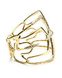 Alexis Bittar - Metallic Kinetic Crystal Encrusted Mirrored Hinged Bracelet - Gold - Lyst