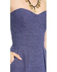 MILLY Blue Strapless Dress Denim