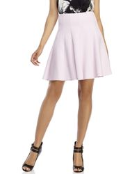 Les Copains - Light Pink Pleated Wool Skirt - Lyst