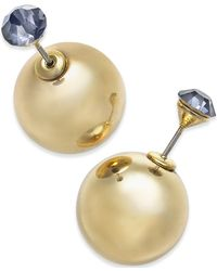 Macy's | Metallic Gold-tone Crystal And Ball Front-back Earrings | Lyst
