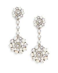 Oscar de la Renta | White Swarovski Crystal Mosaic Drop Clip Earrings/silvertone | Lyst