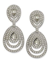 Swarovski - White Rhodium-Plated Tizian Crystal And Pave Teardrop Ring Drop Earrings - Lyst