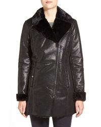 Kenneth Cole | Black Asymmetrical Zip Faux Shearling Coat | Lyst