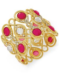 INC International Concepts | Pink Gold-tone Fuchsia Large Stone Stretch Bracelet | Lyst