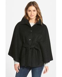 Jessica Simpson Black Belted Boucle Cape