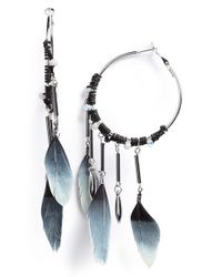 TOPSHOP | Metallic Feather & Spike Drop Hoop Earrings | Lyst
