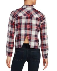 Lord & Taylor | Red Cropped Plaid Blouse | Lyst