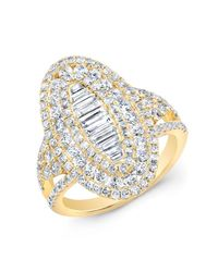 Anne Sisteron | Metallic 14kt Yellow Gold Baguette Diamond Era Ring | Lyst