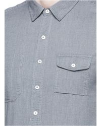 Wooster + Lardini Gray Asymmetric Placket Cotton Flannel Shirt for men