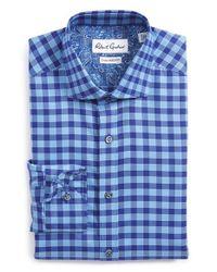 Robert Graham Blue 'sanpietro' Tailored Fit Check Dress Shirt for men