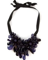 P.A.R.O.S.H. | Blue Flower Cluster Drop Ribbon Necklace | Lyst