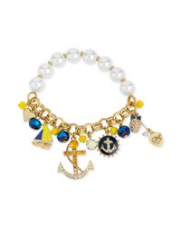Betsey Johnson Metallic Goldtone Anchor Charm and Faux Pearl Stretch Bracelet