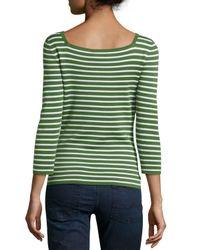Michael Kors - Green 3/4-sleeve Cashmere Top - Lyst