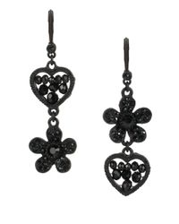 Betsey Johnson | Pitch Black Mismatched Beaded Heart Drop Earrings | Lyst