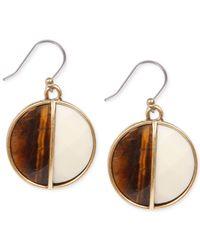 Lucky Brand - Metallic Gold-Tone Tiger'S Eye Drop Earrings - Lyst