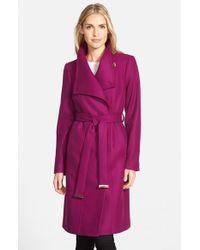 Ted Baker Purple Funnel Neck Wool Blend Wrap Coat