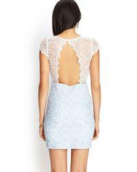 Forever 21 Blue Open-back Lace Sheath Dress