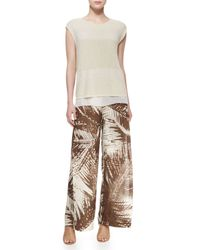 Lafayette 148 New York - Brown Wide-leg Leaf-print Pants W/ Overlay - Lyst