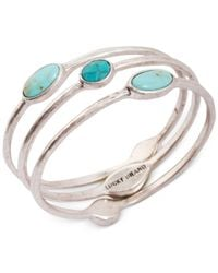 Lucky Brand Metallic Silver-tone Turquoise Bangle Bracelet Set
