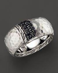 John Hardy - Palu Silver Lava Overlap Band Ring With Black Sapphires - Lyst