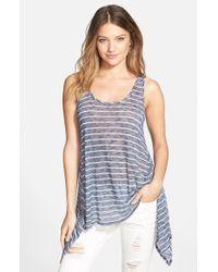 Soprano - Blue Stripe Handkerchief Hem Tank - Lyst