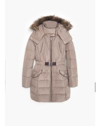 Mango | Brown Quilted Feather Coat | Lyst