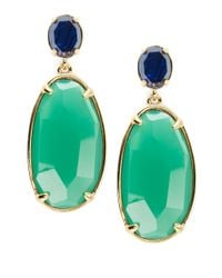 Lauren by Ralph Lauren | Green Oval Stone Drop Earrings | Lyst