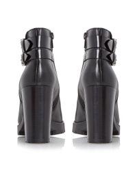 Dune Black Pettle Clean Block Heel Ankle Boots