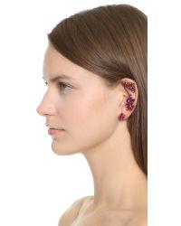 Oscar de la Renta Purple Navette Crystal Cuff Earrings - Fuchsia