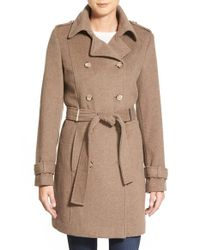 Calvin Klein | Brown Wool Blend Trench Coat | Lyst