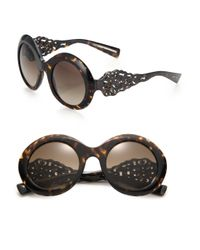 Dolce & Gabbana | Black Filigree 51mm Round Sunglasses | Lyst