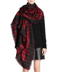 COACH Red X Blitz 'horse & Carriage' Oversized Jacquard Wool Scarf