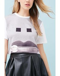 Forever 21 | Gray Ziztar Zip Your Mouth Crop Top | Lyst