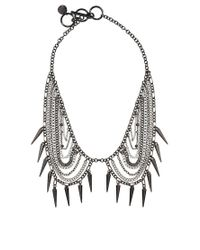 French Connection - Metallic Mixed Plate Chain and Spike Collar Necklace - Lyst