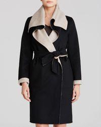 Max Mara Black Coat - Emy Drape Collar Color Block Cashmere Reversible