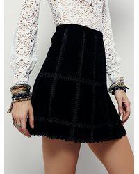 Free People - Black Womens Piece Out Suede Mini Skirt - Lyst