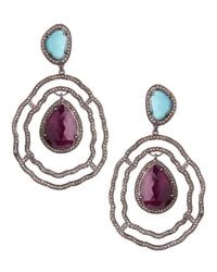 Bavna | Blue Ruby Turquoise Diamond Drop Earrings | Lyst