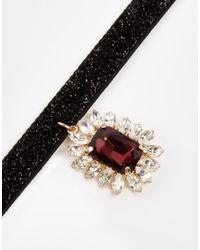 ASOS - Black Jewel Glitter Choker Necklace - Lyst
