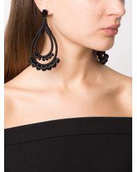 Oscar de la Renta - Black Beaded Teardrop Earrings - Lyst