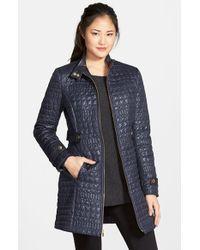 Via Spiga Purple Faux Leather Trim Quilted Coat