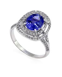 Effy | Blue 14kt. White Gold Tanzanite And Diamond Ring | Lyst