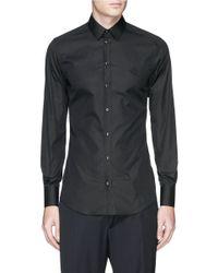 Dolce & Gabbana Black 'gold' Crown Embroidery Cotton Poplin Shirt for men