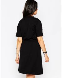 ASOS | Black Skater Dress With V Neck & Chunky Rib Detail | Lyst