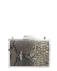Glint | Gray Snake Embossed Minaudiere | Lyst