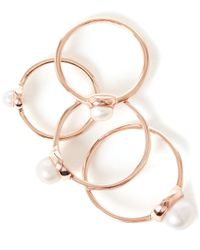 Eddie Borgo | Pink Rose Gold-plated Stackable Pearl Midi Ring Set | Lyst