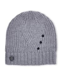 Vince Camuto | Gray Geo Studded Beanie | Lyst