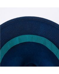 Paul Smith Blue Men's Navy Dip-dyed Wool Trilby Hat for men